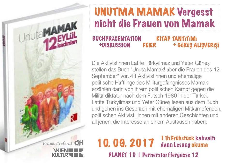 Flyer: Buchpräsentation und Diskussion im Planet 10 Wien