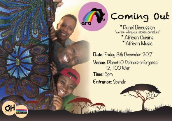 Flyer ARA 3 smiling persons heads lurking from behind african ankara fabrics