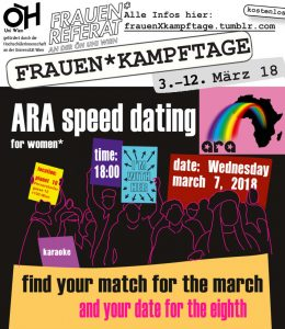 ARA speed dating flyer mit allen infos