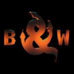 Schriftzug B & W gold auf schwarz mit Schlagen verziehrt
